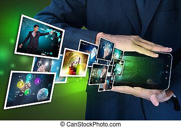 Exhibición de pantalla tocada futurista