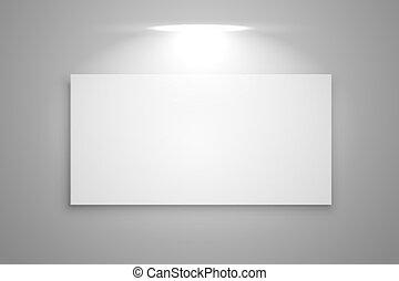 exhibición, marco, foco, galería, luz, plano de fondo