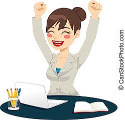 exitoso, celebrar, mujer felíz