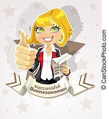 exitoso, mujer de negocios, cartel