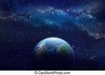 Exoplaneta en el espacio profundo