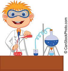 experime, niño, químico, caricatura