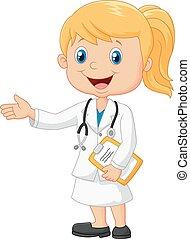 explicar, caricatura, doctor