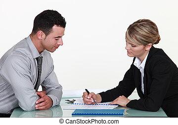 explicar, mujer, contrato, hombre