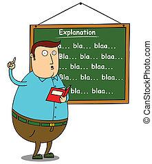 explicar, profesor, grasa, tema