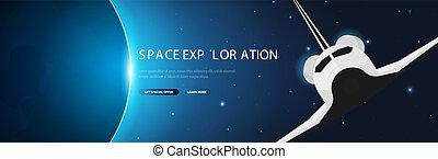Exploración espacial. Transbordador. Trasfondo espacial de galaxias astronómicas. Ilustración de vectores.