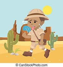 explorador, calor, sufrimiento, africano