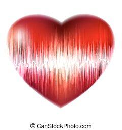 Explosión del corazón rojo, latido del corazón. EPS 8