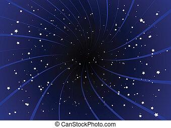 Explosión púrpura y estrellas.