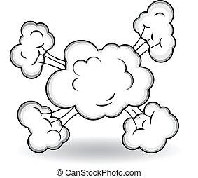 explosión, vector, cómico, nubes