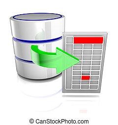 exportación, datos, base de datos