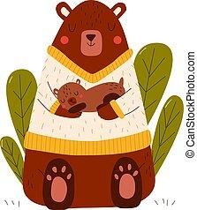 exposiciones, caricatura, oso, ilustración, cuidado de amor, animales, feliz, madre, poco, bebé, vector, aislado, white., ella