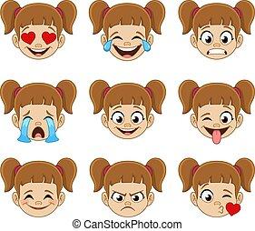 expresiones, cara, niña, emoji