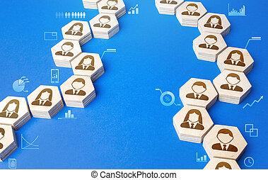extensión, información, communication., gente, conectado, cooperación, sociedad, reacción, cadena, gráfico, assistance., rumores, unidad, cadenas, exchange., collaboration., indicators.