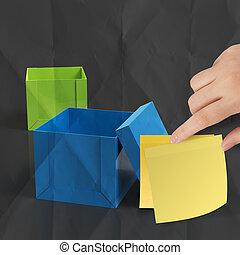 exterior, arrugado, pensamiento, note papel, pegajoso, caja