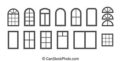 exterior, facade., casa, decorativo, negro, ventana, architecture., isolated., balcón, edificio, oficina, editable, ventana., marco, silueta, contorno, icono, frame., wall., vector, arco, cerrado