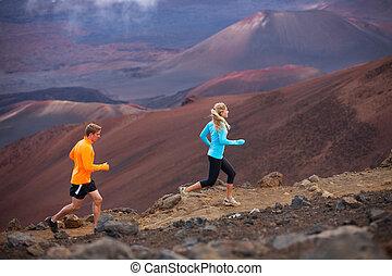 exterior, pareja, jogging, arrastre correr, condición física, deporte