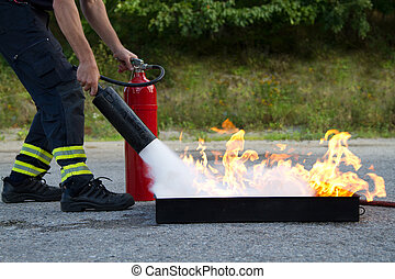 extintor, uso, fuego, actuación, entrenamiento, cómo, instructor