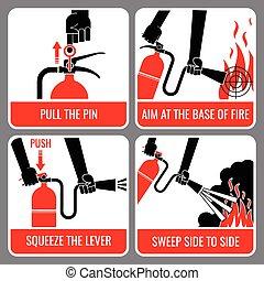 extintor, vector, fuego, instrucción