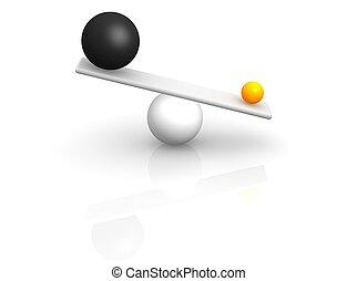 Extraño equilibrio. 3d ilustrado.