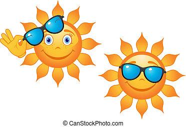 Extraño sol con gafas de sol