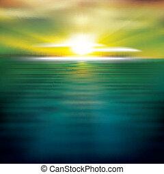 Extracto fondo con el amanecer del mar