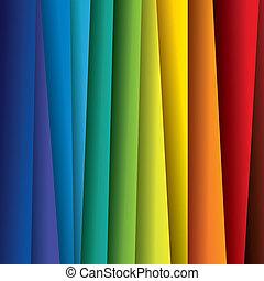 Extracto papel o sábanas de fondo vector gráfico. Esta ilustración contiene hojas de papel en el espectro del arco iris