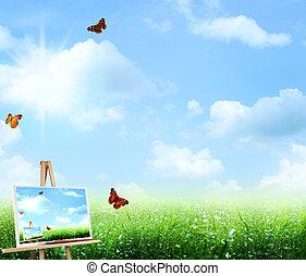 Extractos antecedentes de arte bajo el cielo azul