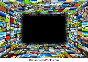 Extractos antecedentes multimedia compuestos por muchas imágenes con el espacio en el centro