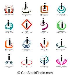 """Extractos iconos con letra """"i""""."""