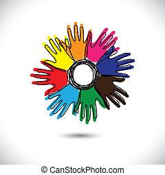 Extractos iconos de mano con perfiles como pétalos de vector de flores. Esta ilustración representa a la gente que permanece unida, comunidad de gente feliz, gente que comparte, niños jugando, etc