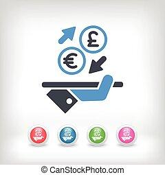 extranjero, euro/sterling, intercambio, -, icono, moneda