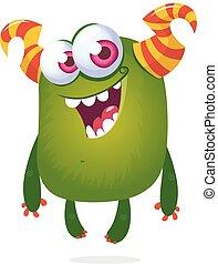extranjero, ilustración, halloween, eyes., divertido, grande, caricatura
