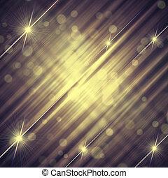 Extraordinario fondo gris violeta con brillantes líneas amarillas y estrellas