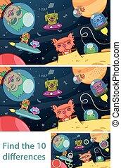 extraterrestre, rompecabezas, niños, diferencias, espacio