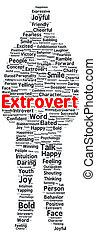 extrovertido, forma, palabra, nube