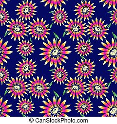 exuberante, seamless, negrita, florecimiento, margarita, patrón
