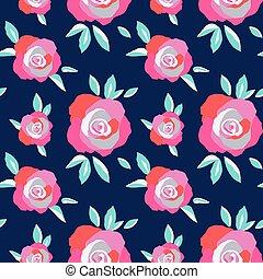 exuberante, seamless, negrita, florecimiento, patrón, rosas