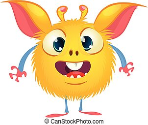 eyes., monstruo, carácter, lindo, caricatura, vector, grande, divertido
