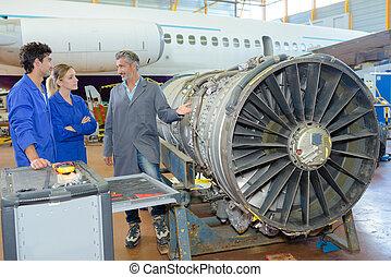 fábrica avión, ingenieros, mantenimiento