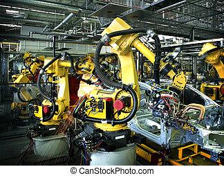 fábrica, coche, soldadura, robotes