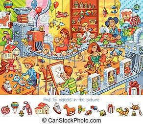 Fábrica de juguetes. Encuentra 15 objetos en la foto