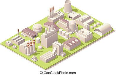fábrica, edificios, isométrico