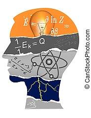 física, cabeza, silueta, estudiante