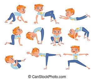 físico, corte, exercises., carácter, niño, caricatura, poco, divertido