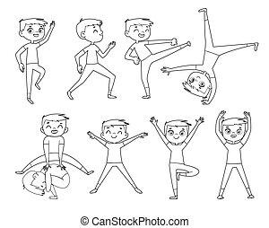físico, exercises., contorno, niño, poco, dibujo