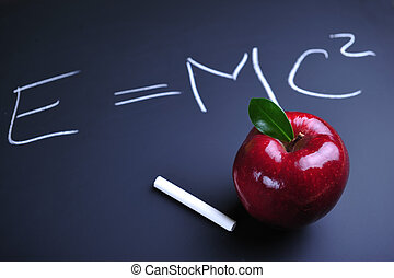 fórmula, manzana, einstein