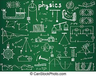 fórmulas, escuela, físico, tabla, phenomenons