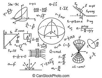 fórmulas, mano, dibujado, ciencia, física, conocimiento, education.