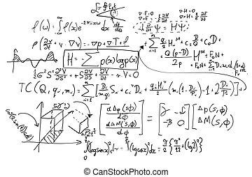 Fórmulas matemáticas complejas en pizarra